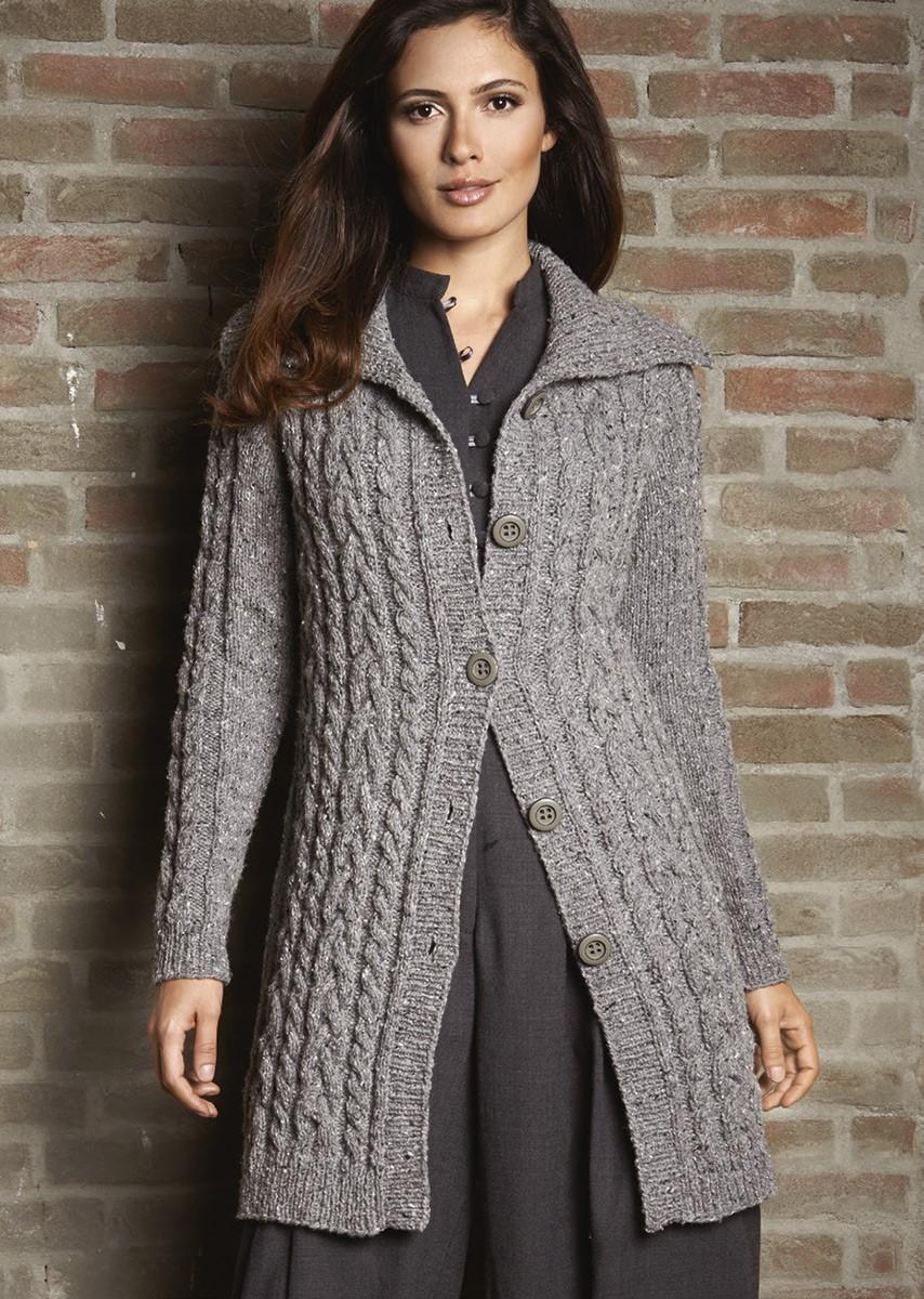 Lana Grossa GILET GRIS EN MOTIF TORSADÉ Royal Tweed
