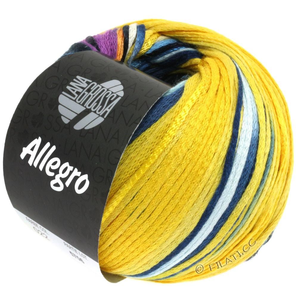 Lana Grossa ALLEGRO   022-jaune moutarde/turquoise/pourpre/marine/jaune doré