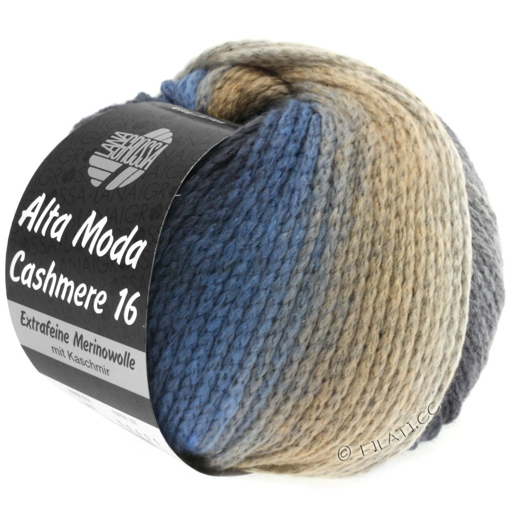 Lana Grossa ALTA MODA CASHMERE 16 Uni/Degradé   101-jean/gris clair/gris foncé/beige
