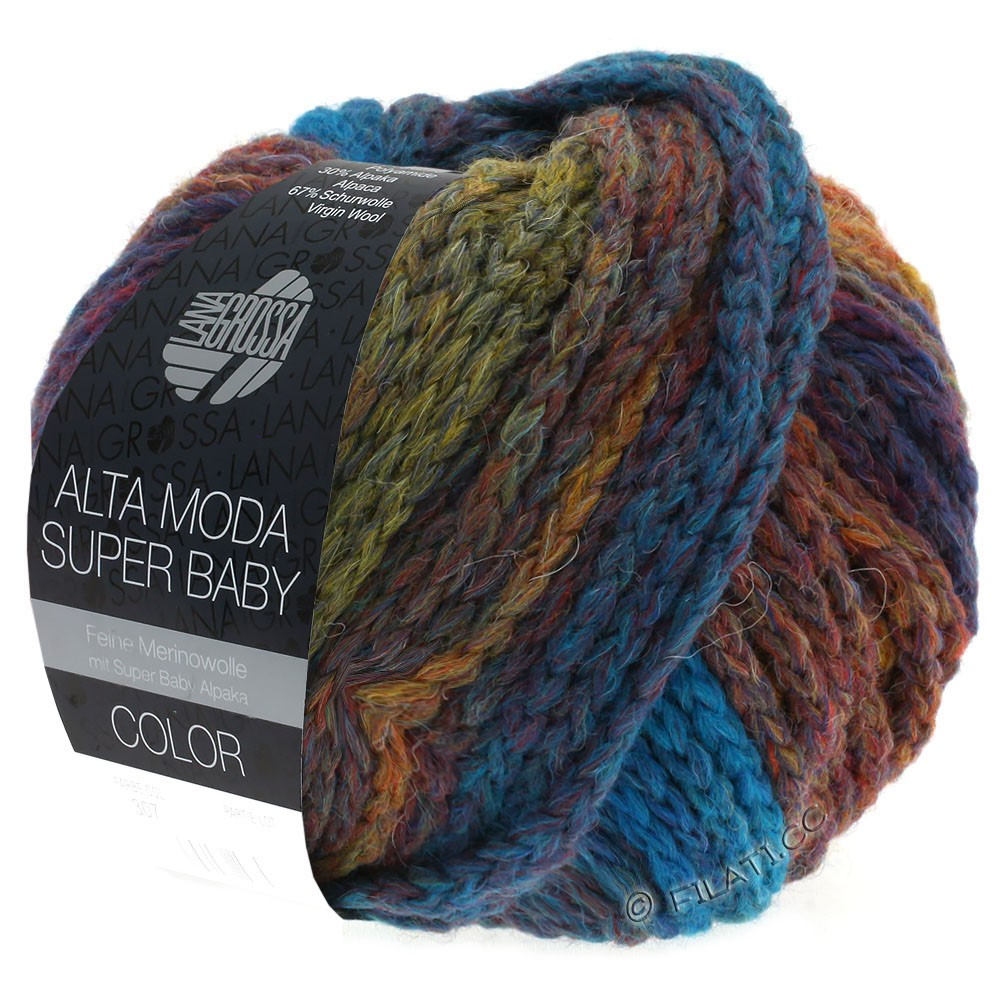 Lana Grossa ALTA MODA SUPER BABY  Color | 301-pétrole/olive/cuivre/rouge foncé