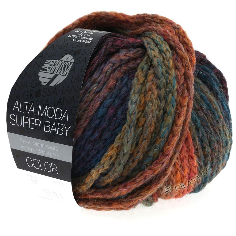 Lana Grossa ALTA MODA SUPER BABY  Color | 304-cuivre/moutarde/pétrole/bleu foncé/violet