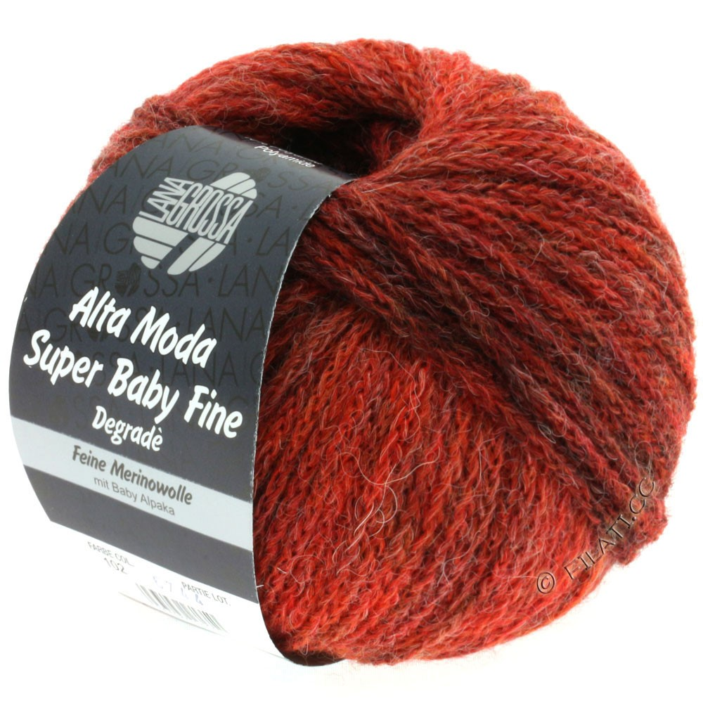 Lana Grossa ALTA MODA SUPER BABY FINE Degradè | 102-rouge brique/rouge foncé/rouge noir