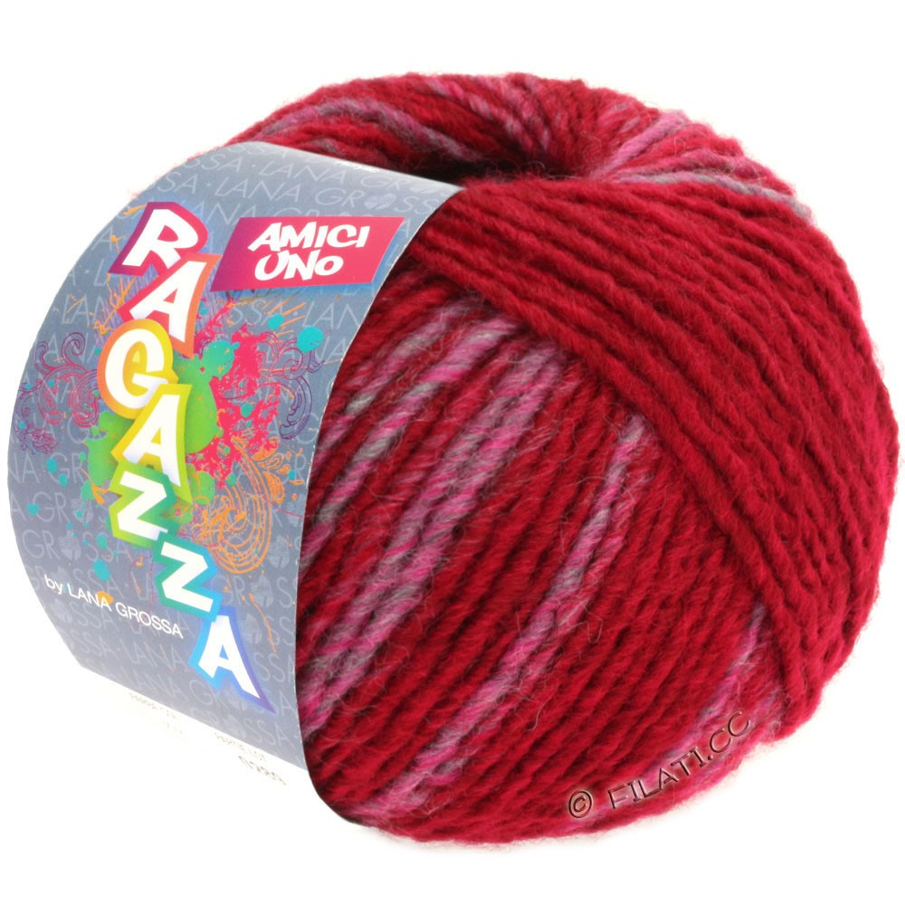 Lana Grossa AMICI UNO (Ragazza)   305-rouge vin/rose vif/gris