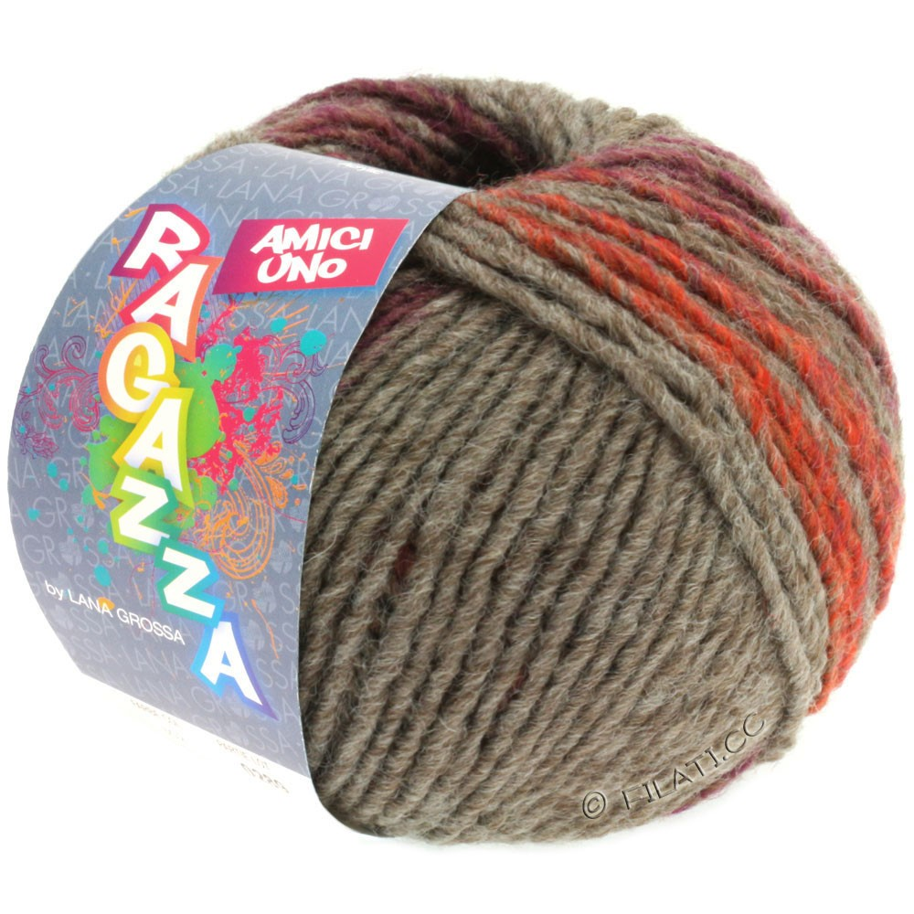 Lana Grossa AMICI UNO (Ragazza) | 307-brun gris/brun rouge