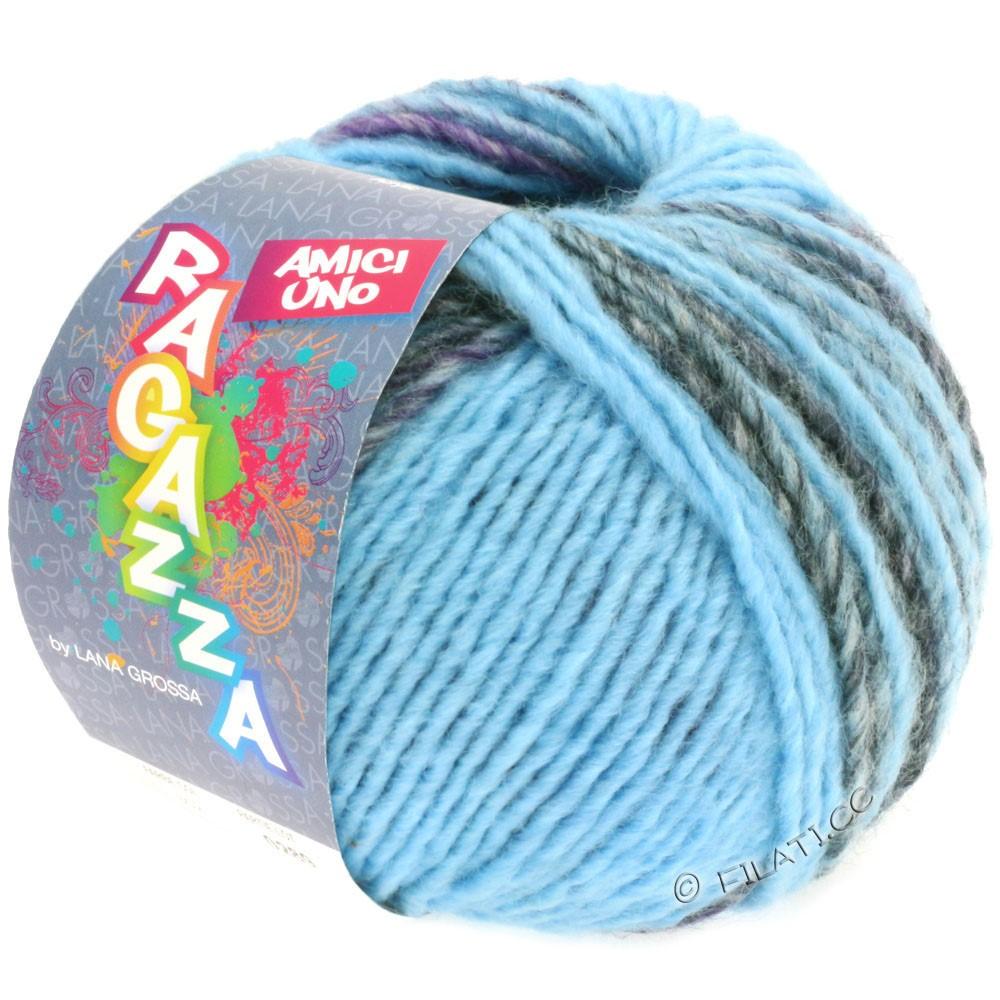 Lana Grossa AMICI UNO (Ragazza) | 310-bleu clair/pourpre/anthracite/brun/bleu