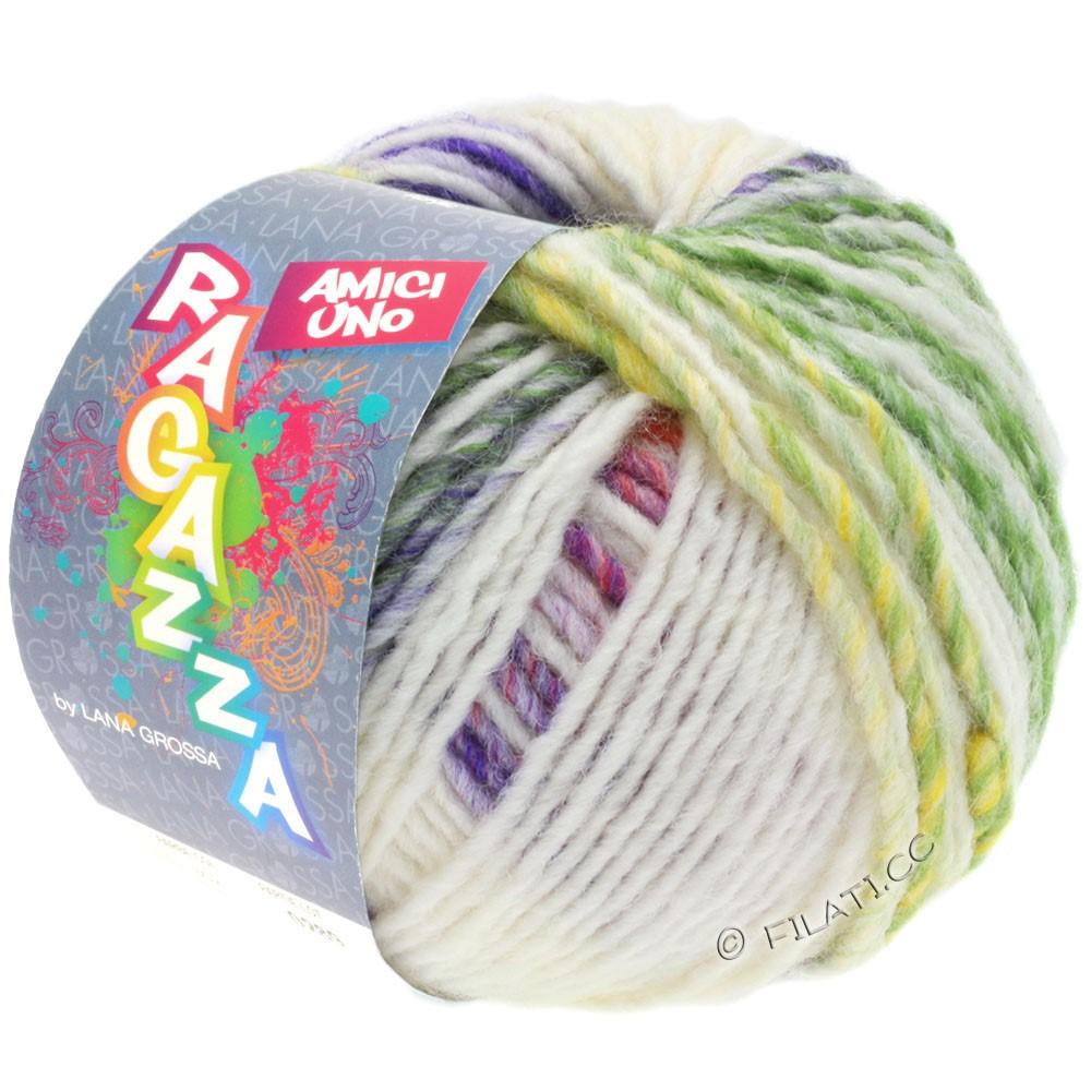 Lana Grossa AMICI UNO (Ragazza) | 313-écru/violet/vieux rose/vert/moutarde