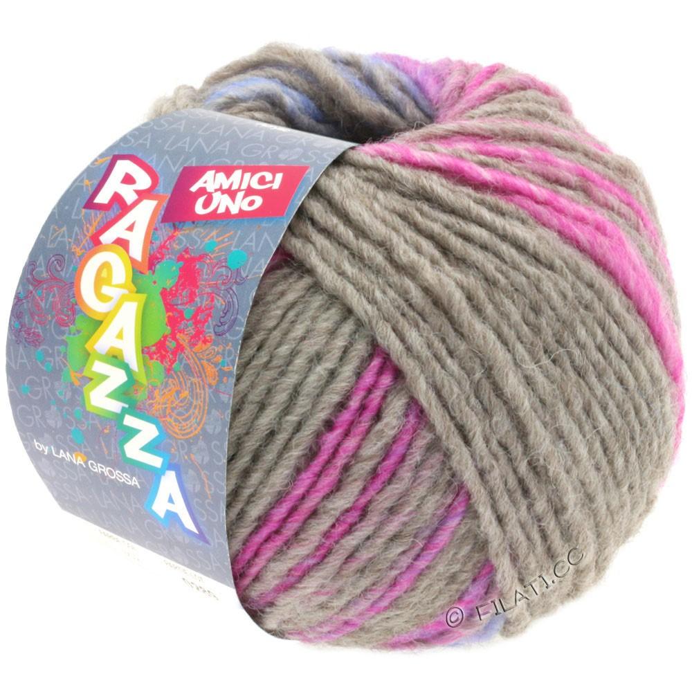 Lana Grossa AMICI UNO (Ragazza) | 314-gris/rose vif/pourpre/turquoise