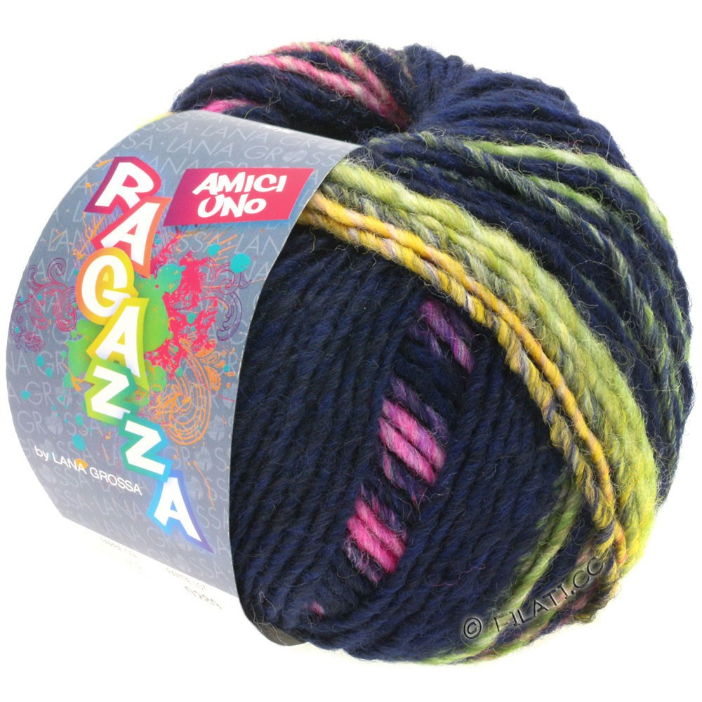 Lana Grossa AMICI UNO (Ragazza) | 316-bleu nuit/jaune/rose vif/pourpre/vert clair