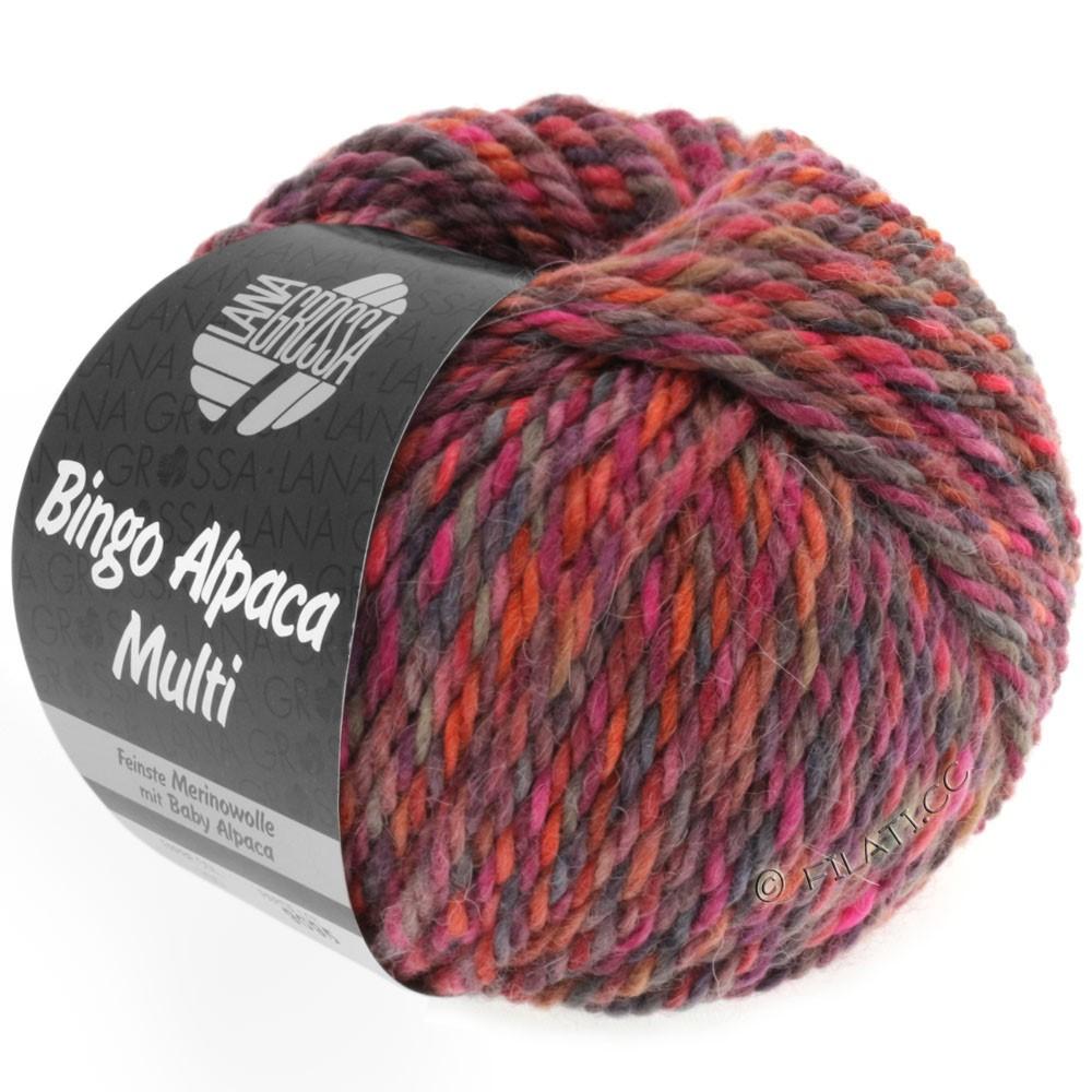 Lana Grossa BINGO ALPACA Multi | 103-framboise/baies/taupe/rouille/rose vif/violet rouge