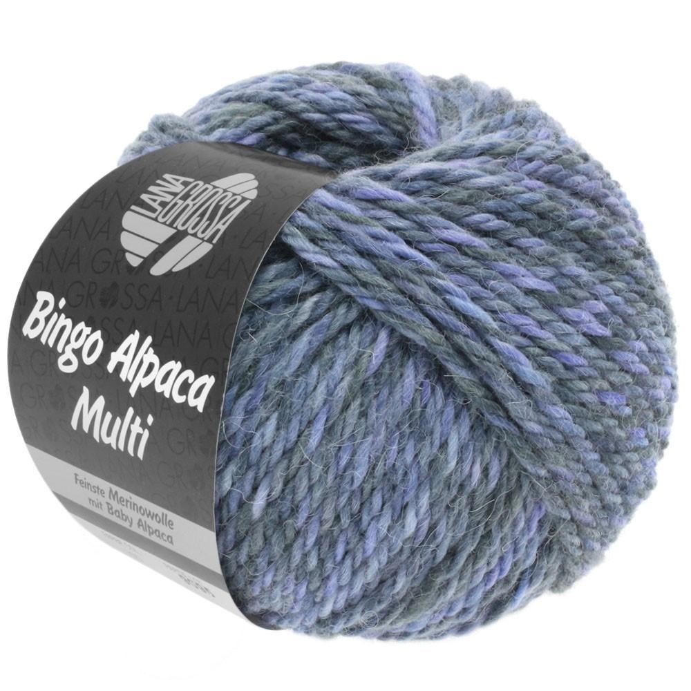 Lana Grossa BINGO ALPACA Multi | 108-pourpre/bleu comme violettes/gris/gris foncé