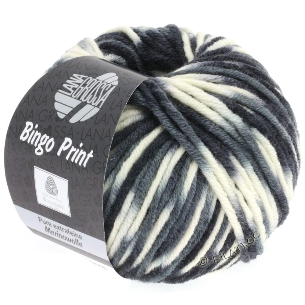 Lana Grossa BINGO  Uni/Melange/Print | 310-blanc/gris clair/gris foncé/noir