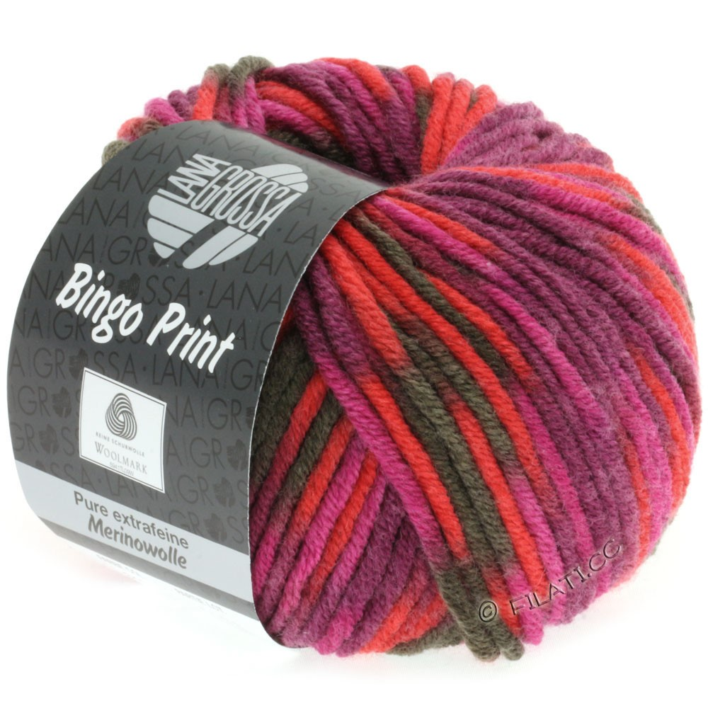 Lana Grossa BINGO Print | 345-rouge/rose vif/cyclamen/brun gris