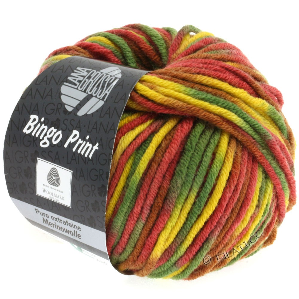 Lana Grossa BINGO Print | 354-brun/jaune/vert/rouge foncé