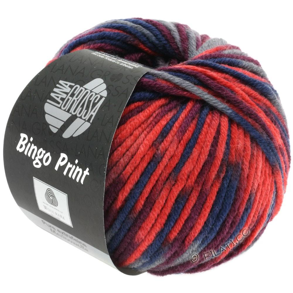 Lana Grossa BINGO  Uni/Melange/Print | 363-rouge lumineux/mandarine/bordeaux/gris foncé