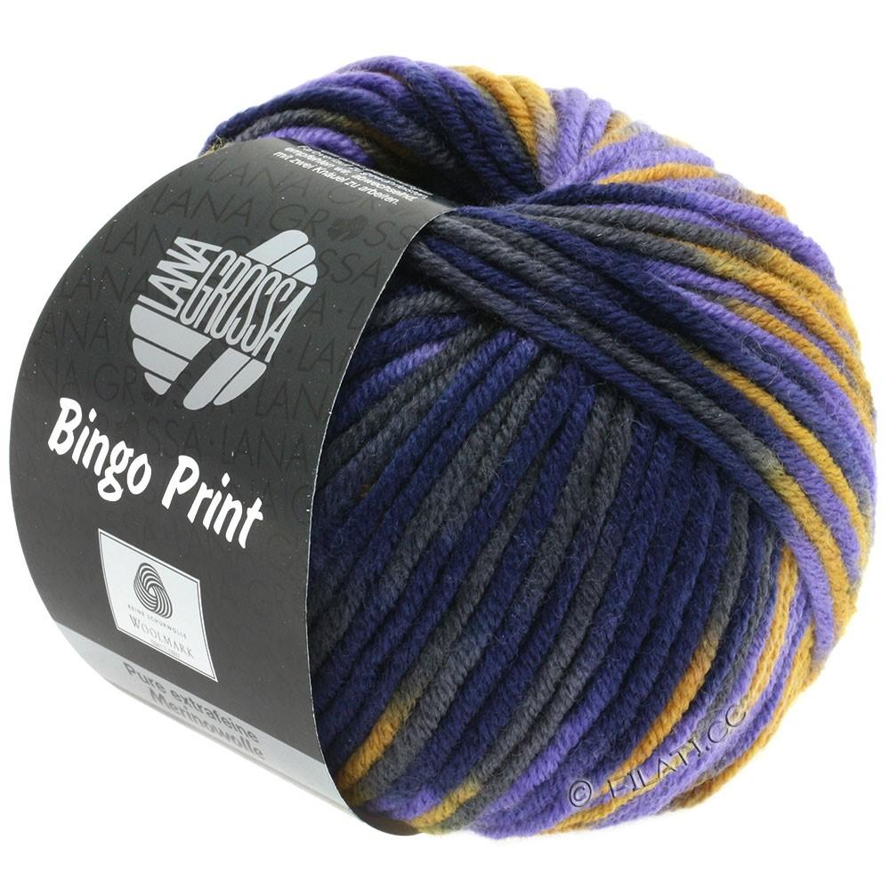Lana Grossa BINGO  Uni/Melange/Print | 364-jaune ocre/violet/bleu nuit/anthracite