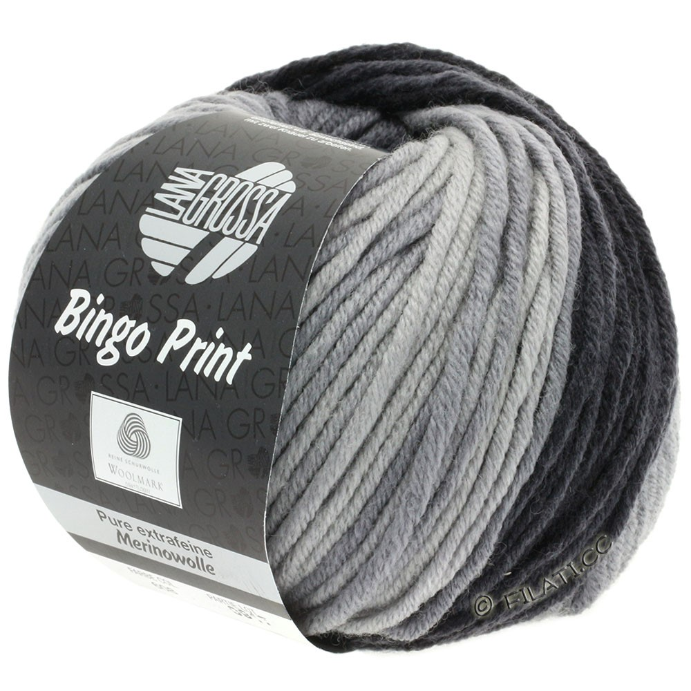Lana Grossa BINGO  Uni/Melange/Print | 608-gris moyen/gris foncé/anthracite