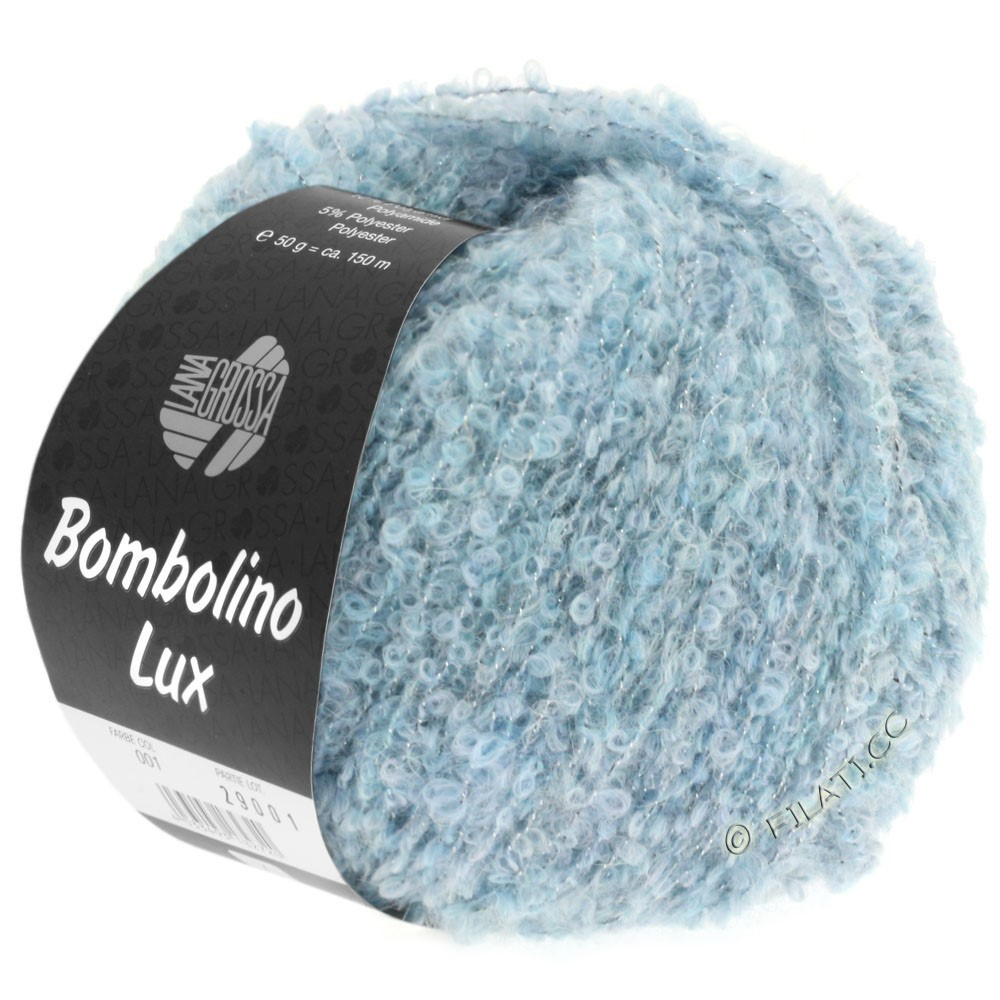Lana Grossa BOMBOLINO Lux   008-bleu clair/argent