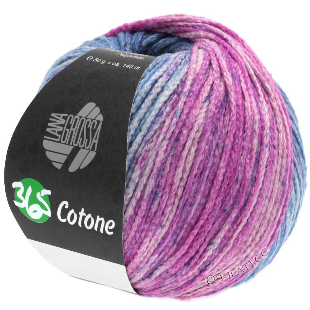 Lana Grossa 365 COTONE Degradé | 105-bleu gris/jean/gris agate/fuchsia foncé/violet rouge