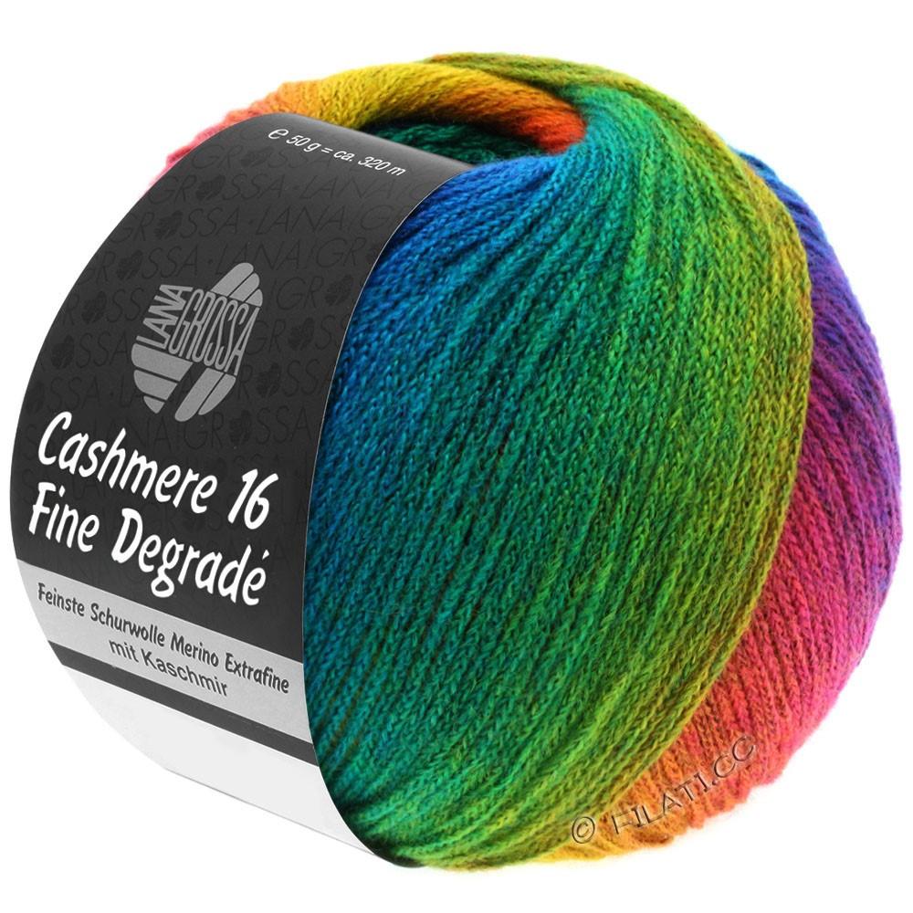 Lana Grossa CASHMERE 16 FINE Uni/Degradé | 104-jaune moutarde/rouille/bleu gentiane/bleu turquoise/émeraude/violet rouge