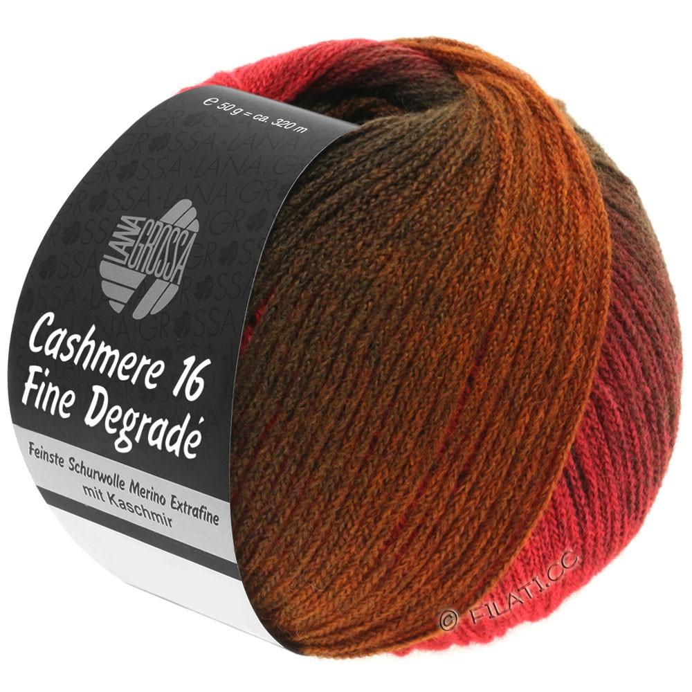 Lana Grossa CASHMERE 16 FINE Uni/Degradé | 105-rouge foncé/rouge clair/brun chocolat