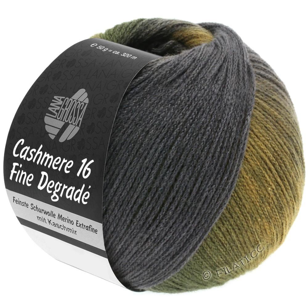 Lana Grossa CASHMERE 16 FINE Uni/Degradé | 108-ambre/kaki/vert foncé/gris foncé/violet gris