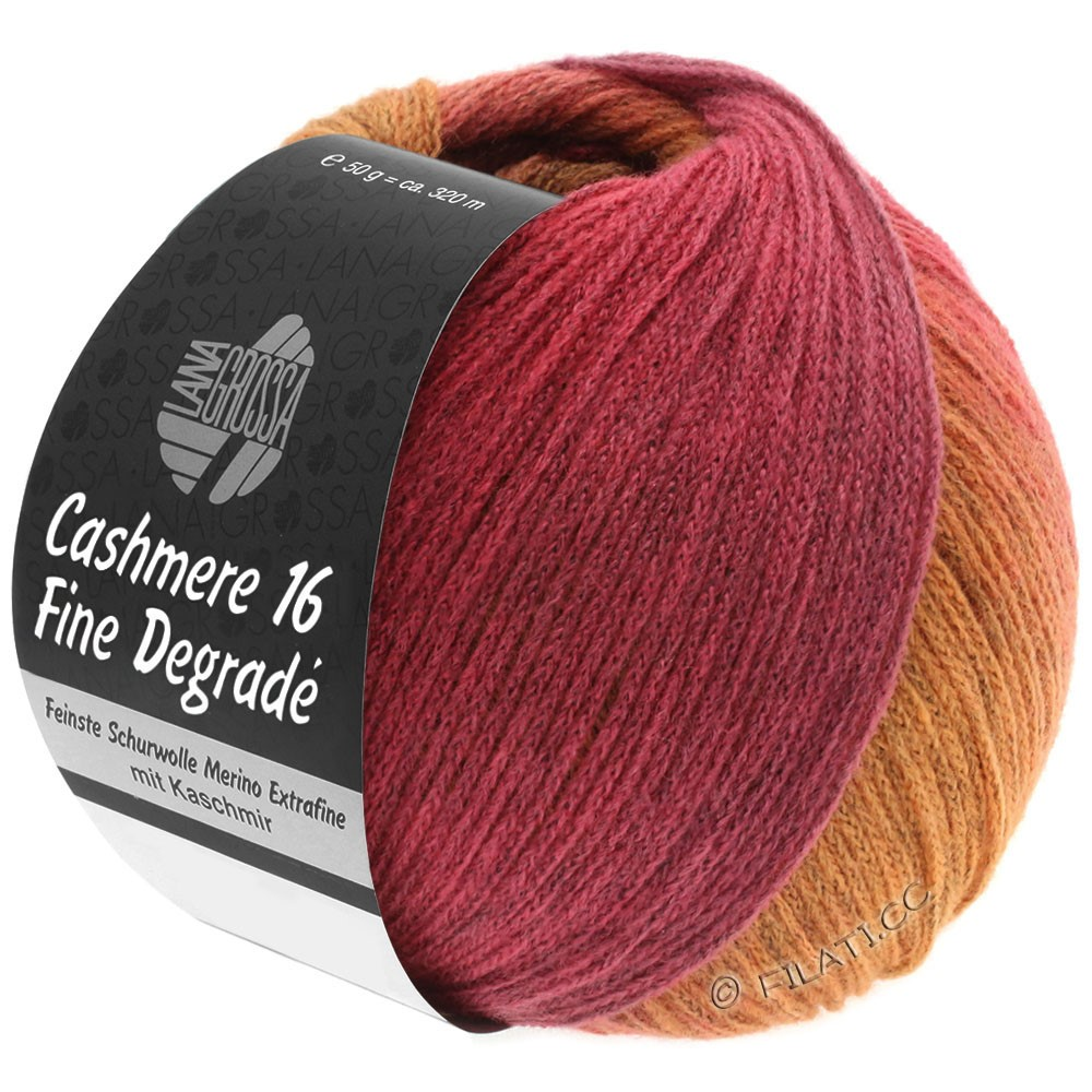 Lana Grossa CASHMERE 16 FINE Uni/Degradé | 109-orange/rose vif/framboise/vieux rose