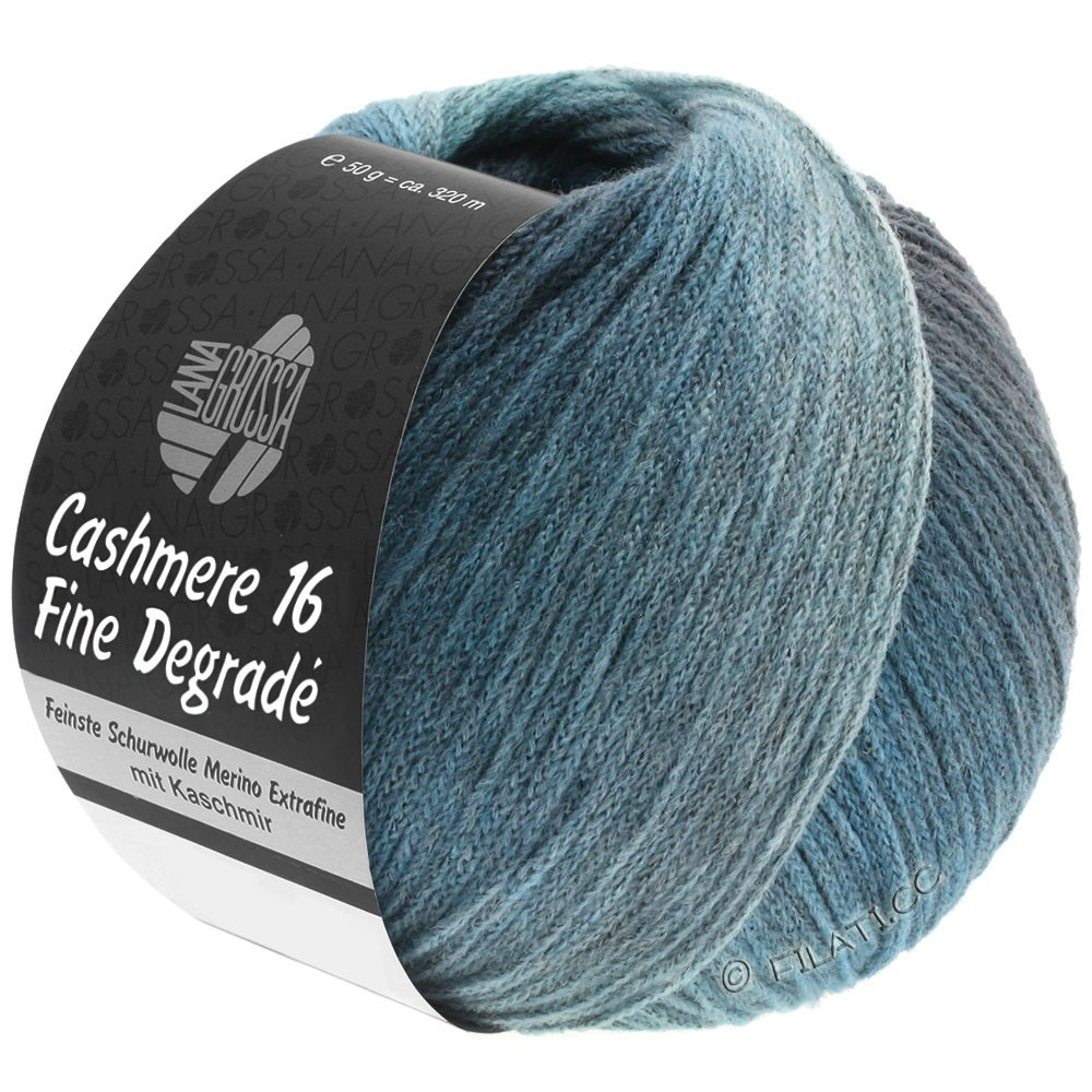 Lana Grossa CASHMERE 16 FINE Uni/Degradé | 111-bleu pétrole/bleu acier/menthe