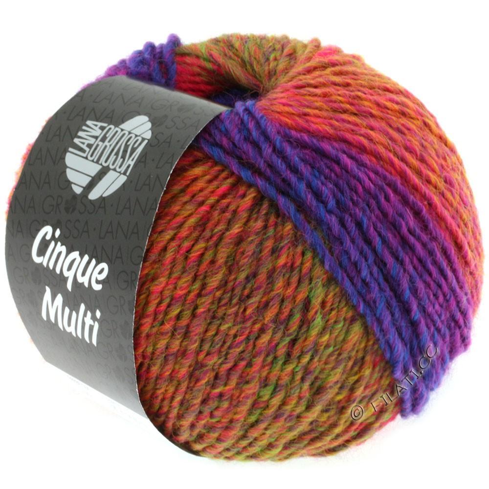 Lana Grossa CINQUE MULTI | 01-violet rouge/bleu/vert/orange chiné