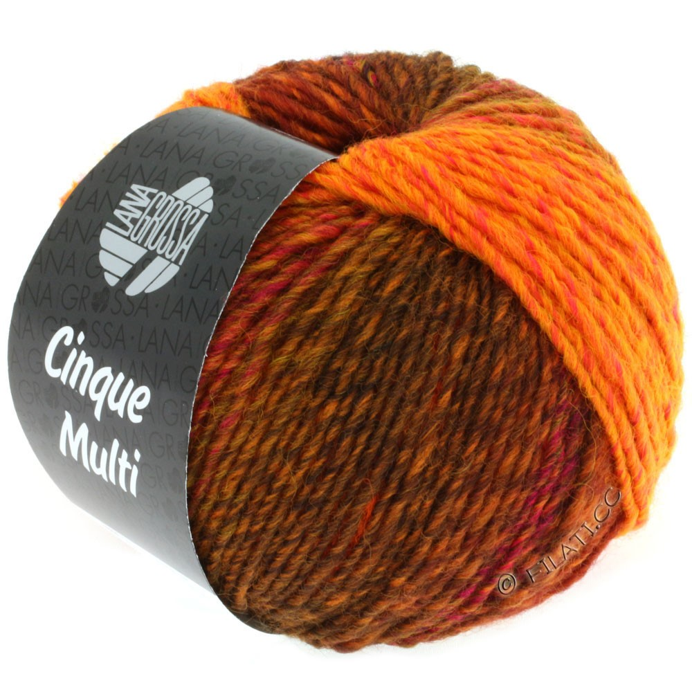 Lana Grossa CINQUE MULTI | 03-rouge/orange/rose vif/bourgogne chiné