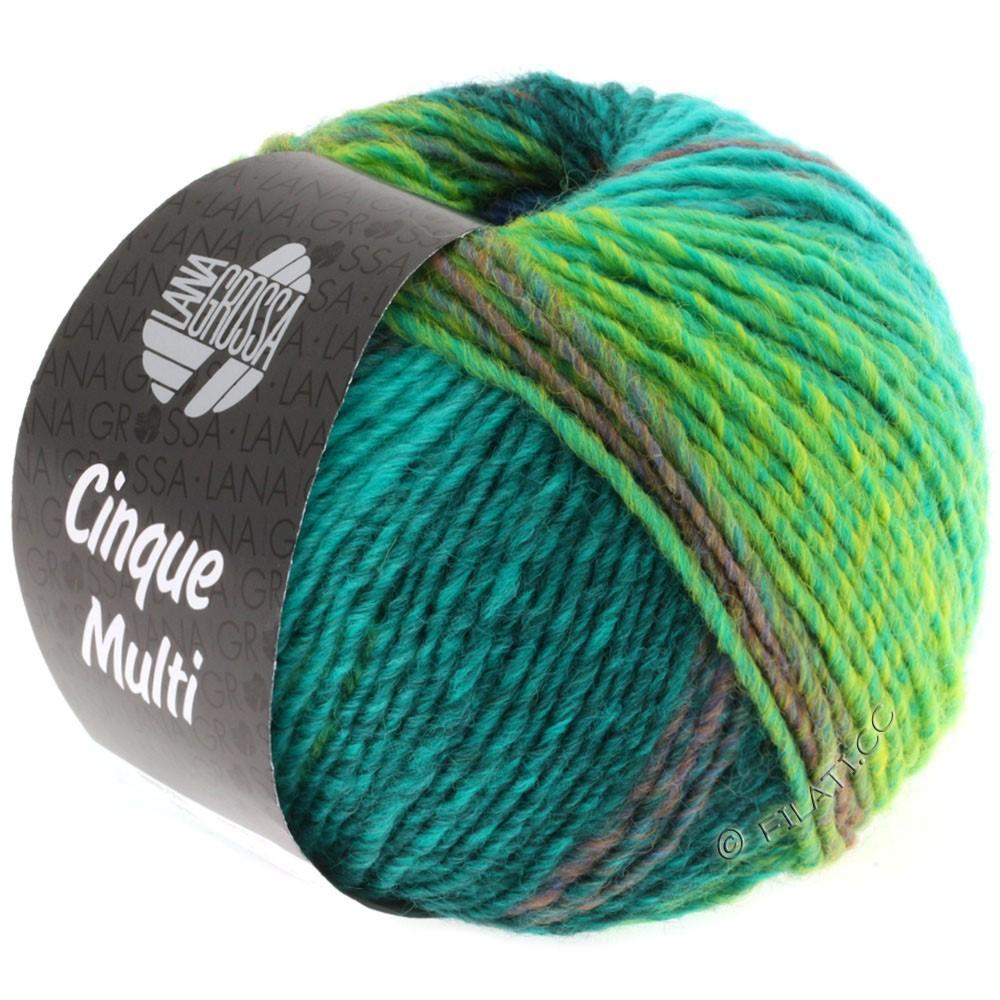 Lana Grossa CINQUE MULTI | 08-bleu/turquoise/pétrole/vert foncé/moutarde chiné
