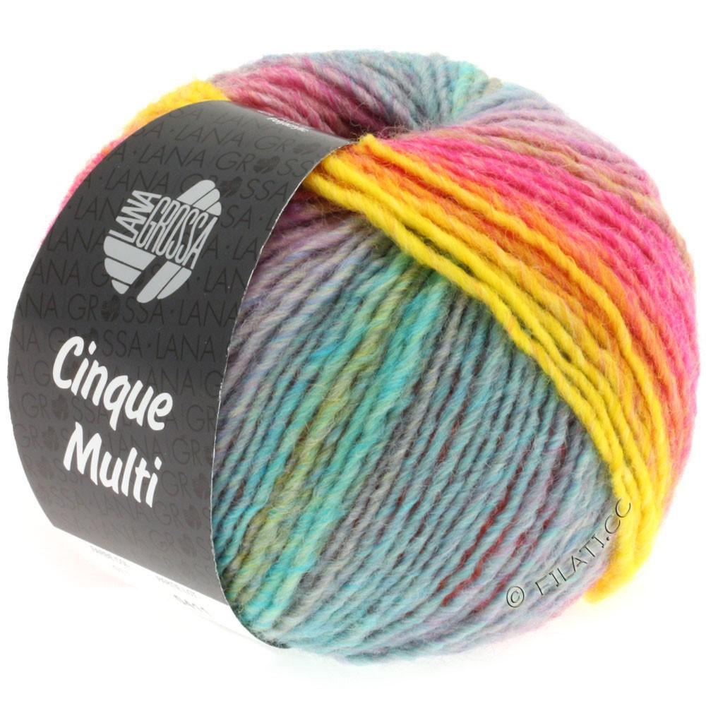 Lana Grossa CINQUE MULTI | 11-rose vif/jaune/pourpre/bleu/vert/orange/turquoise chiné