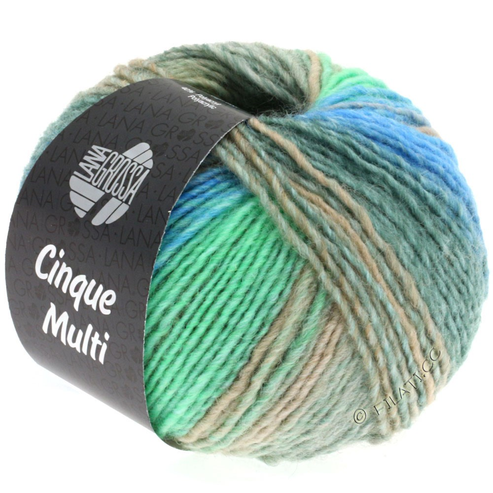 Lana Grossa CINQUE MULTI | 12-gris clair/gris vert/grège/turquoise/gentiane chiné