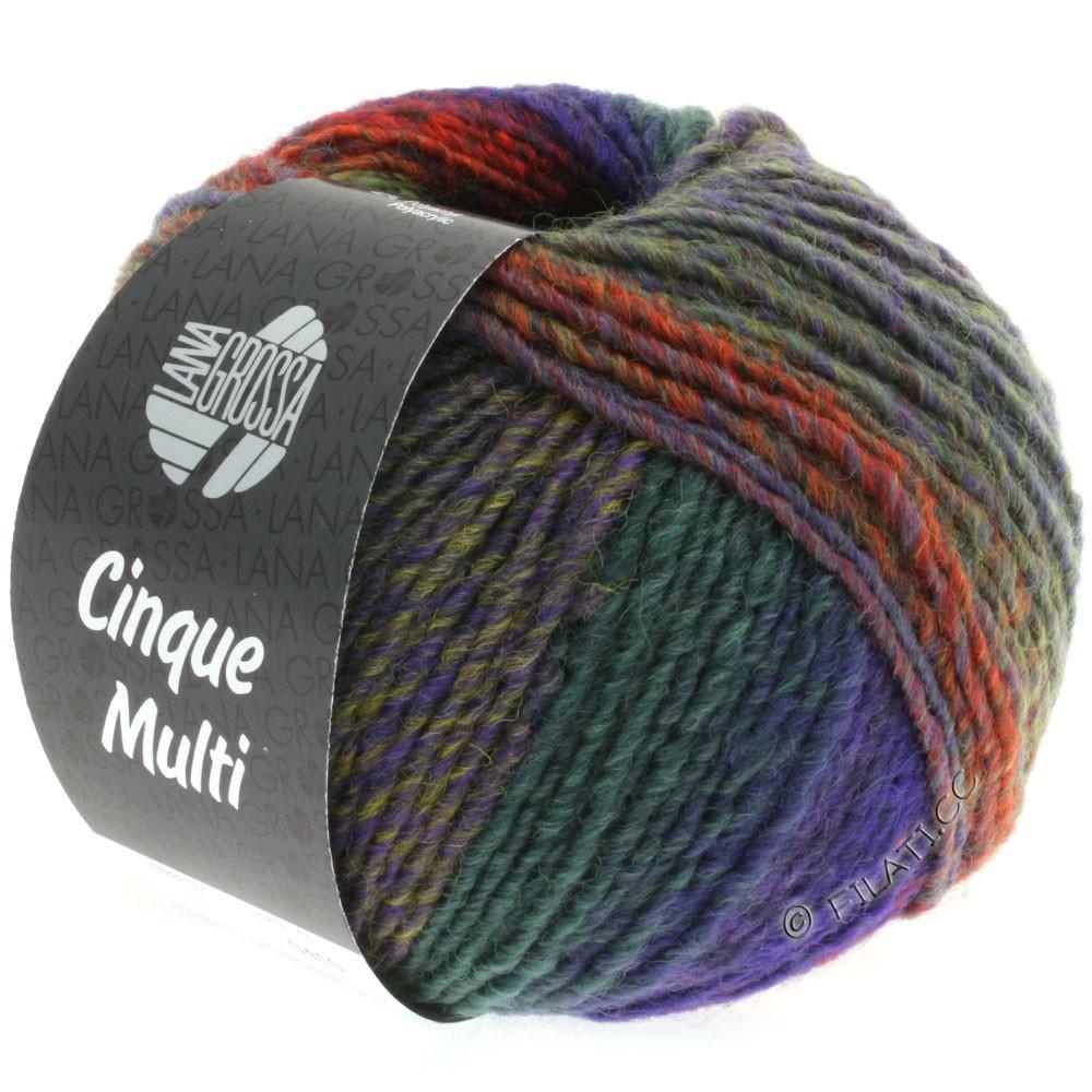 Lana Grossa CINQUE MULTI | 15-violet bleu/moutarde/vert clair/rose vif/rouge/vert chiné