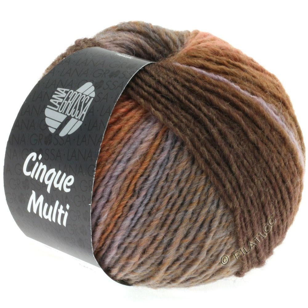 Lana Grossa CINQUE MULTI | 18-brun foncé/bois de rose/gris/grège/anthracite/lilas chiné