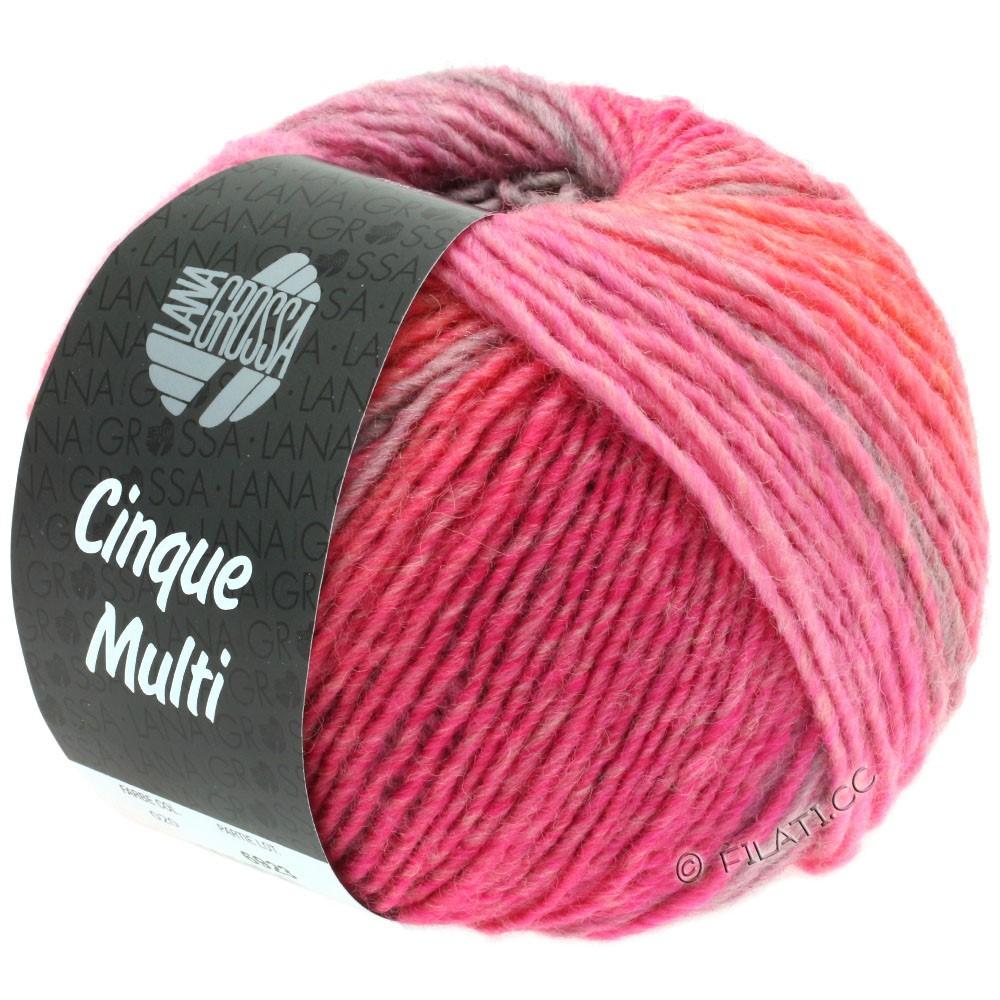 Lana Grossa CINQUE MULTI | 20-lilas/rose vif/gris clair/pêche/gris/rouge gris chiné