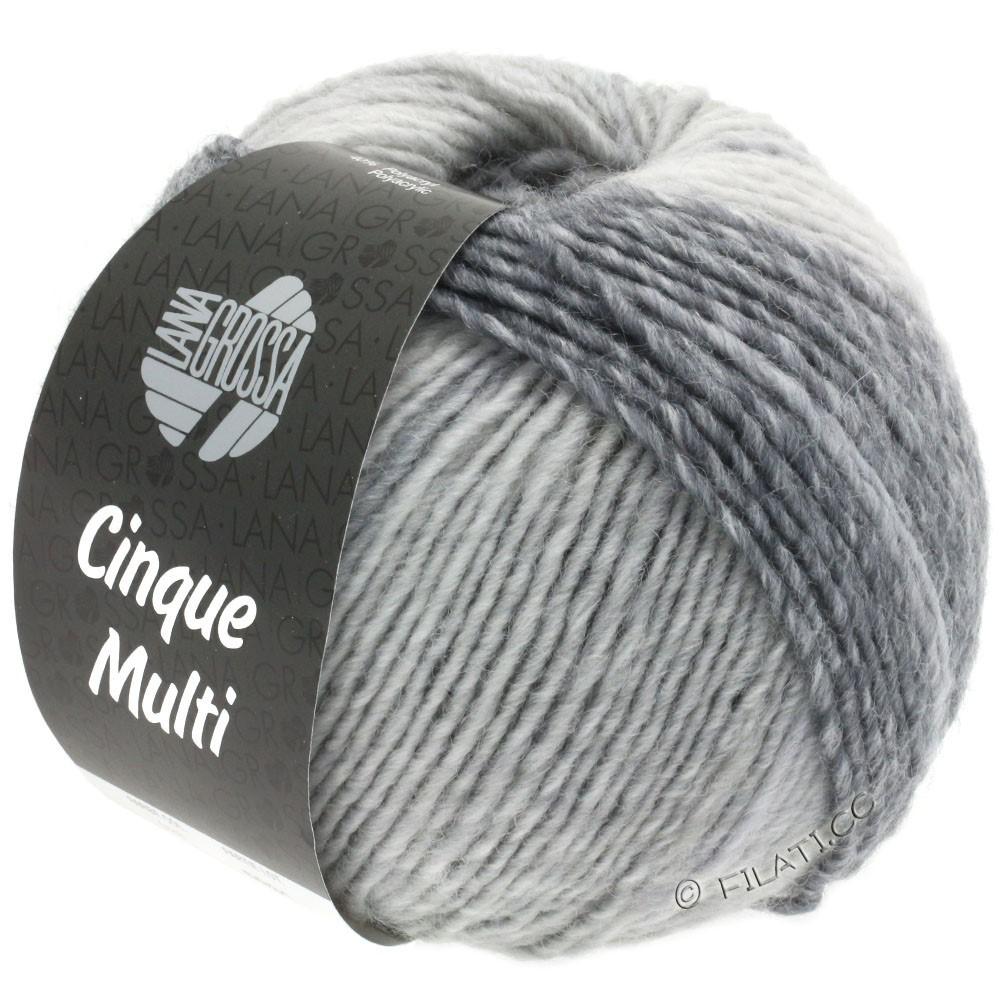 Lana Grossa CINQUE MULTI | 28-blanc/gris clair/gris moyen/gris foncé/anthracite chiné