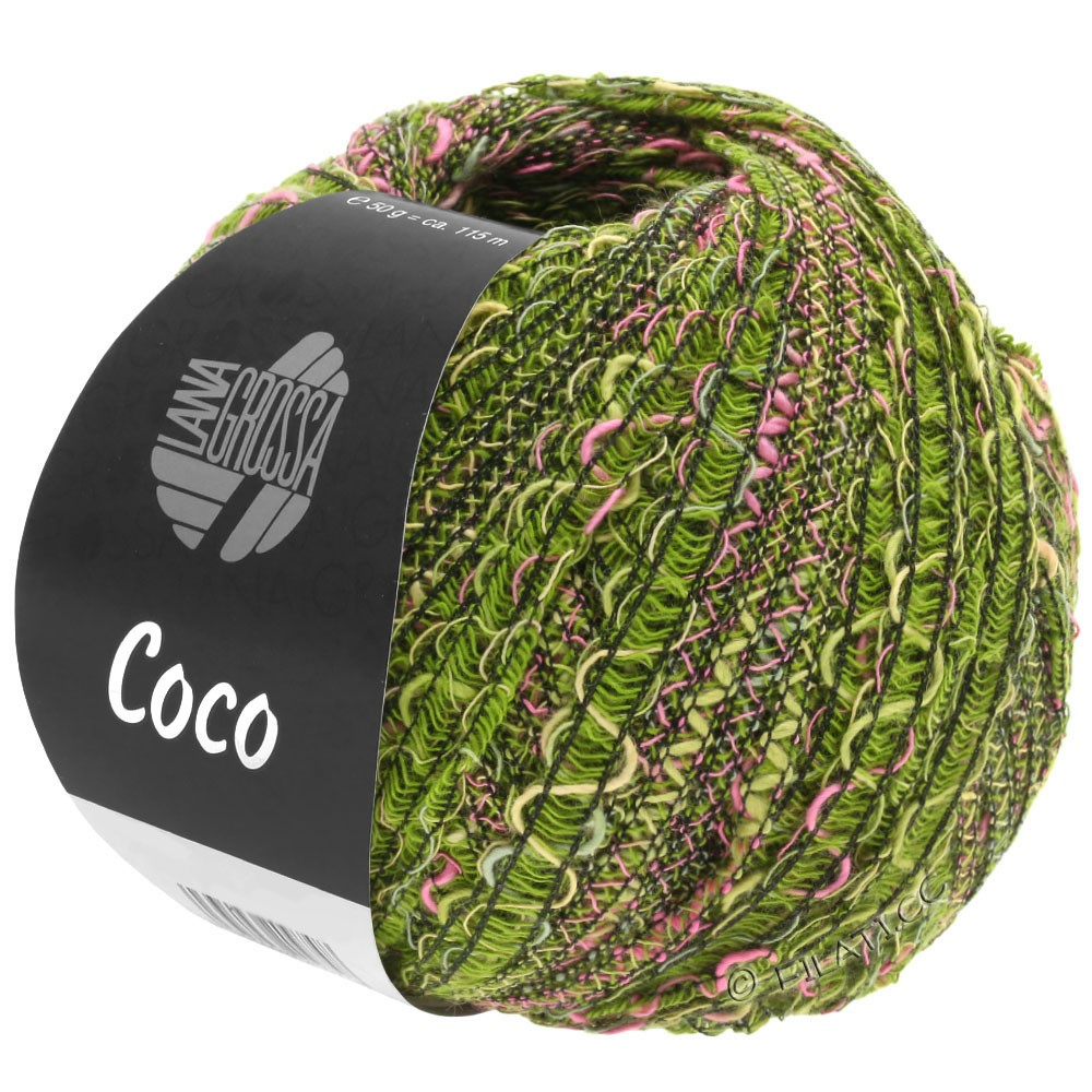 Lana Grossa COCO | 16-olive/rose vif/vert foncé
