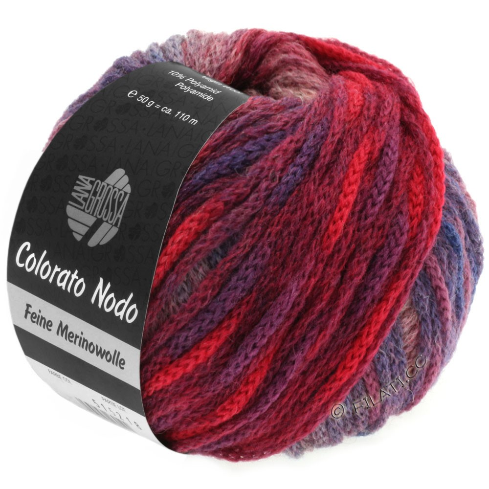 Lana Grossa COLORATO NODO   104-violet bleu/violet rouge/kaki/bruyère/bleu cobalt