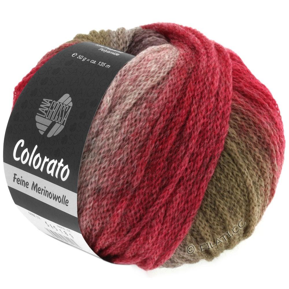 Lana Grossa COLORATO | 004-vert/taupe/mûre/bourgogne/rouge foncé