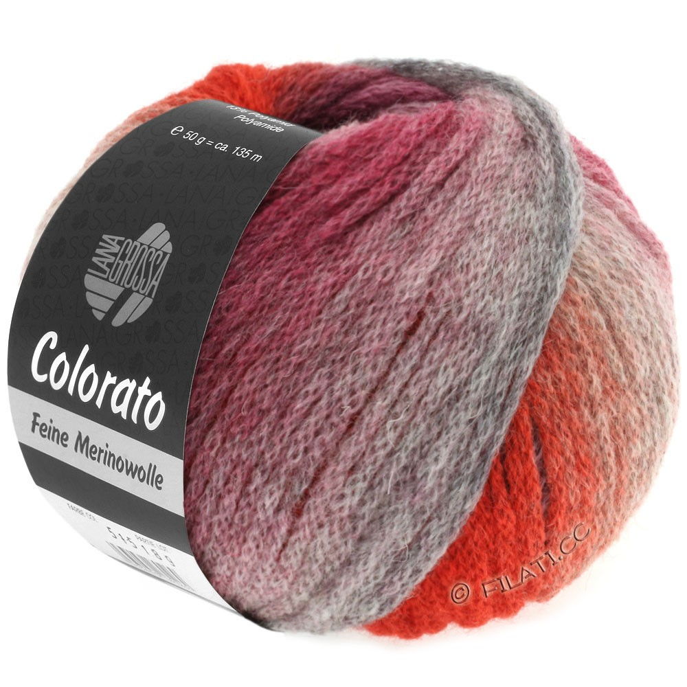 Lana Grossa COLORATO | 010-gris clair/gris foncé/saumon/rouge vin/rouge gris