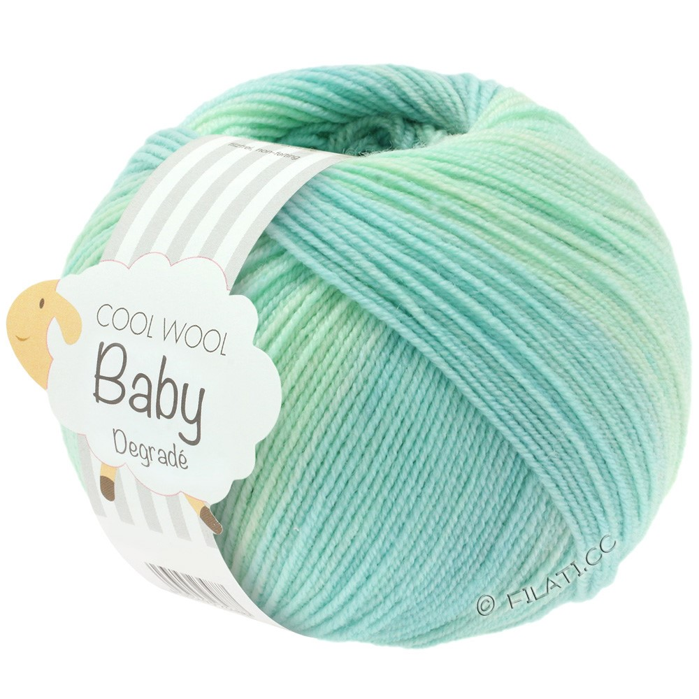 Lana Grossa COOL WOOL Baby Uni/Degradé   502-vert blanc/turquoise pastel/vert clair/bleu pastel