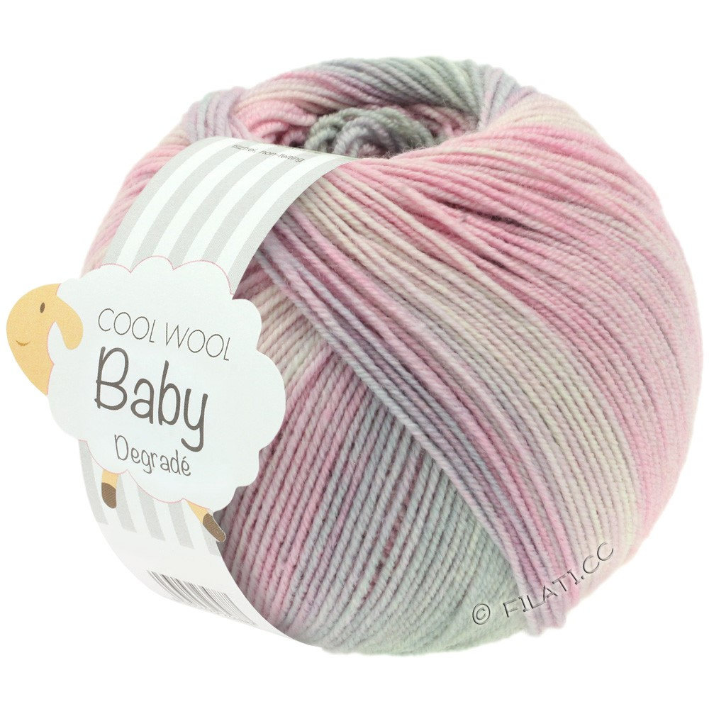 Lana Grossa COOL WOOL Baby Degradé | 508-rose délicat/carnation/gris clair