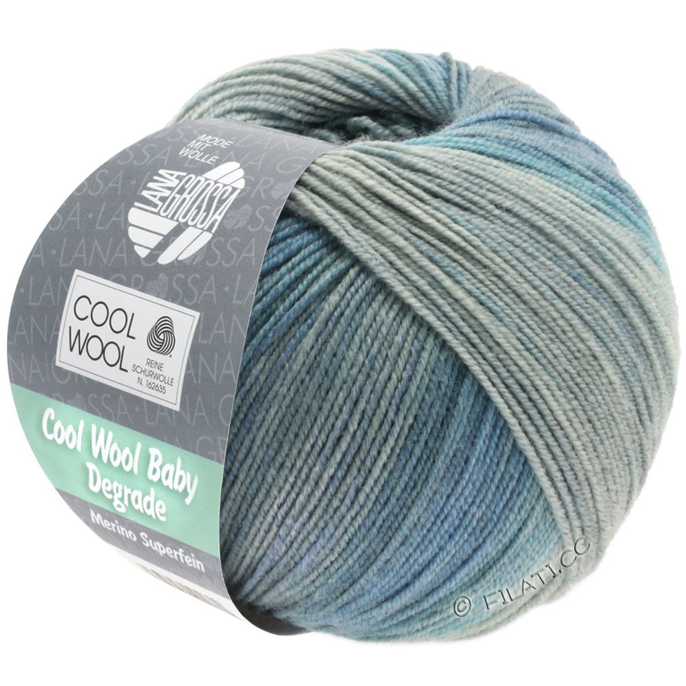 Lana Grossa COOL WOOL Baby Degradé | 509-gris clair/gris moyen/gris bleu