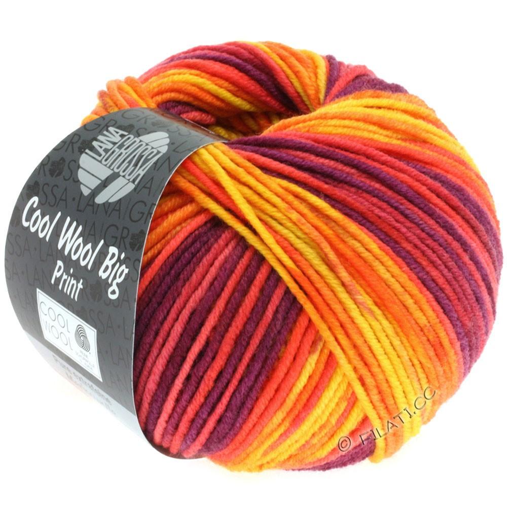 Lana Grossa COOL WOOL Big Uni/Melange/Print | 3007-jaune/orange/rouge/violet rouge