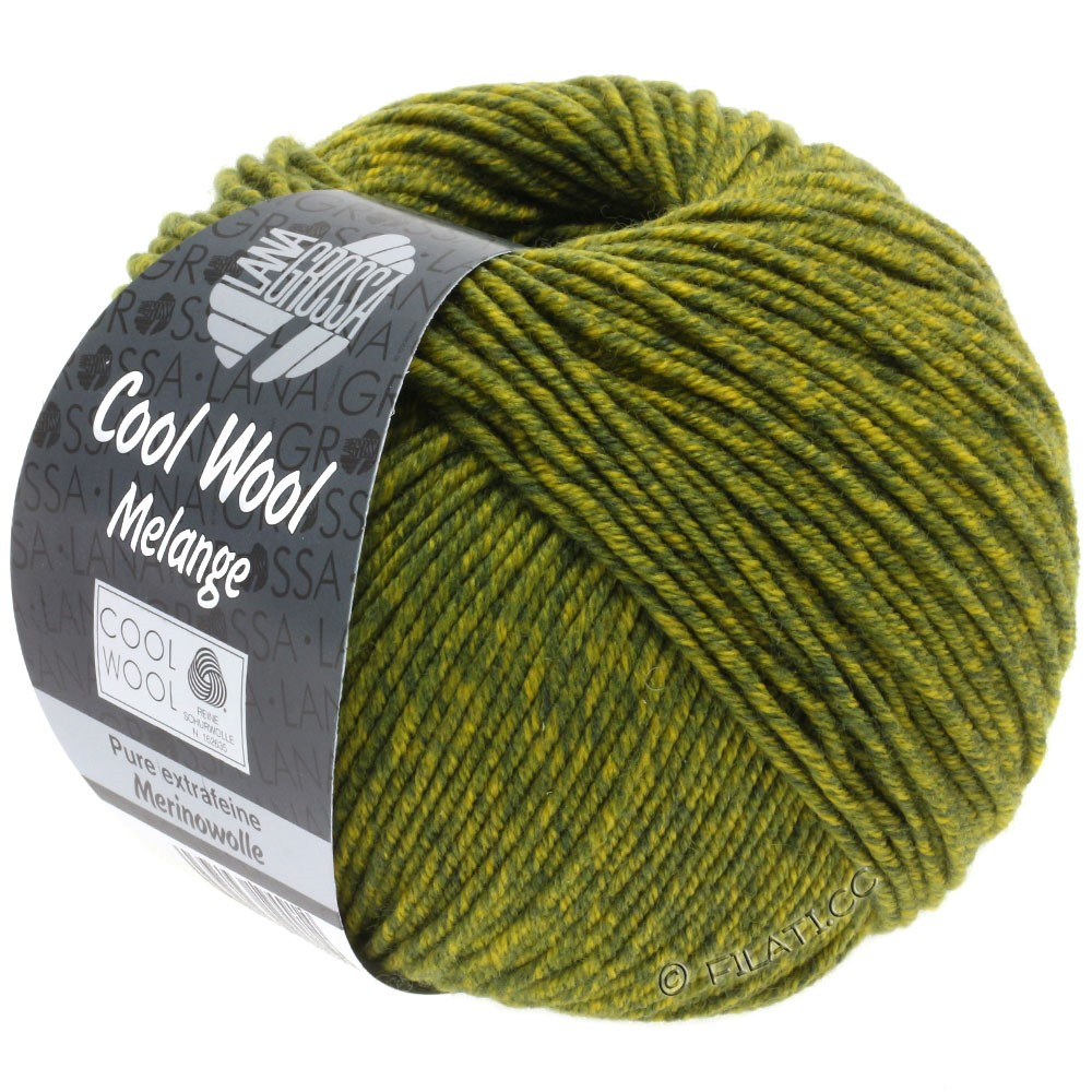 Lana Grossa COOL WOOL  Uni/Melange/Print/Degradé/Neon | 0140-olive foncé/jaune olive chiné