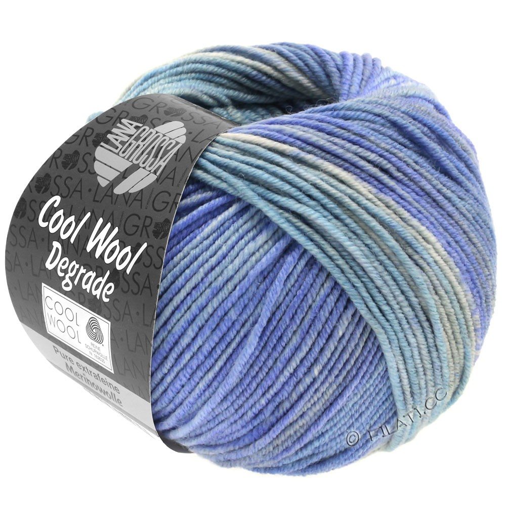 Lana Grossa COOL WOOL  Uni/Melange/Print/Degradé/Neon | 6010-bleu clair/bleu tendre/bleu comme violettes