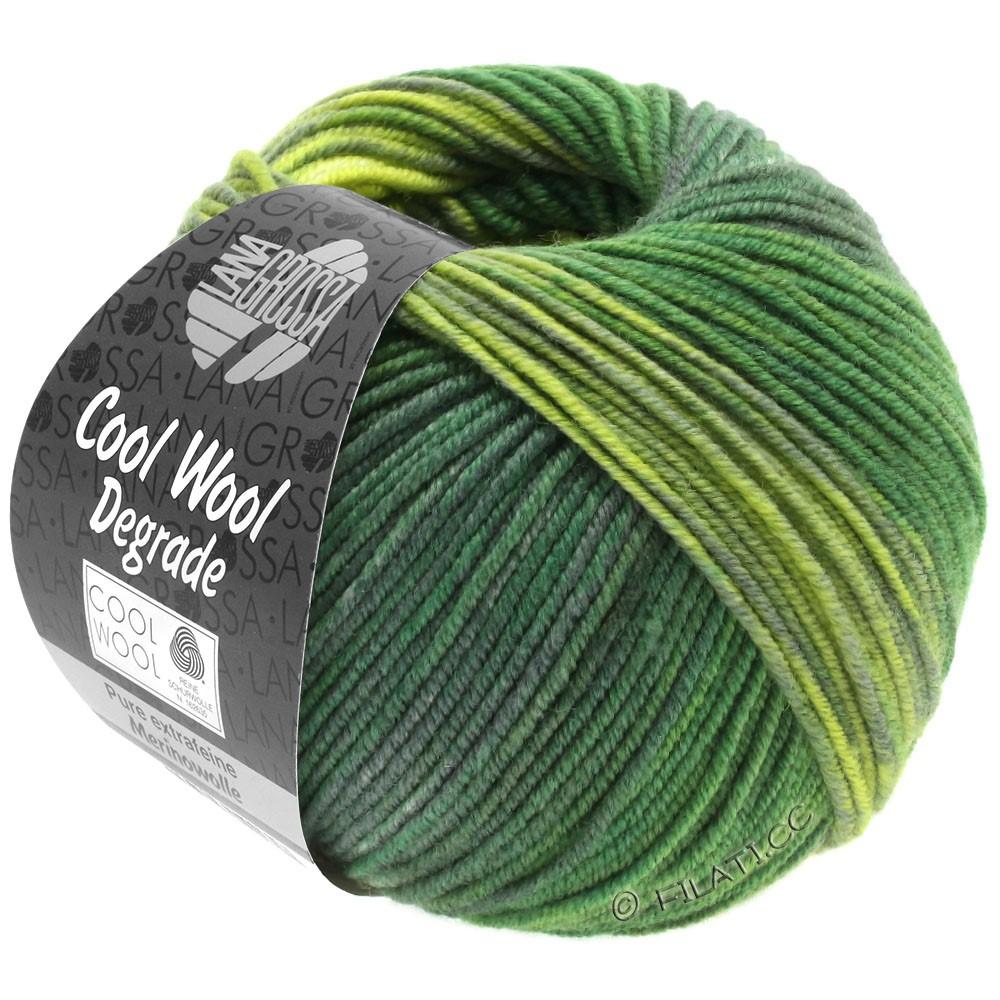 Lana Grossa COOL WOOL  Uni/Melange/Print/Degradé/Neon | 6011-vert jaune/vert foncé/gris vert