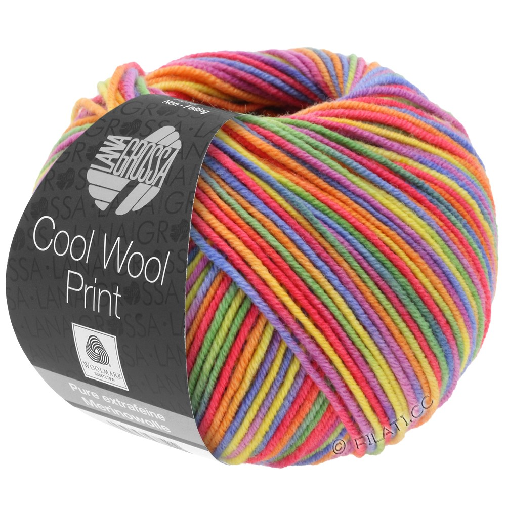 Lana Grossa COOL WOOL  Print | 703-pourpre/vert/framboise/orange/jaune/bleu