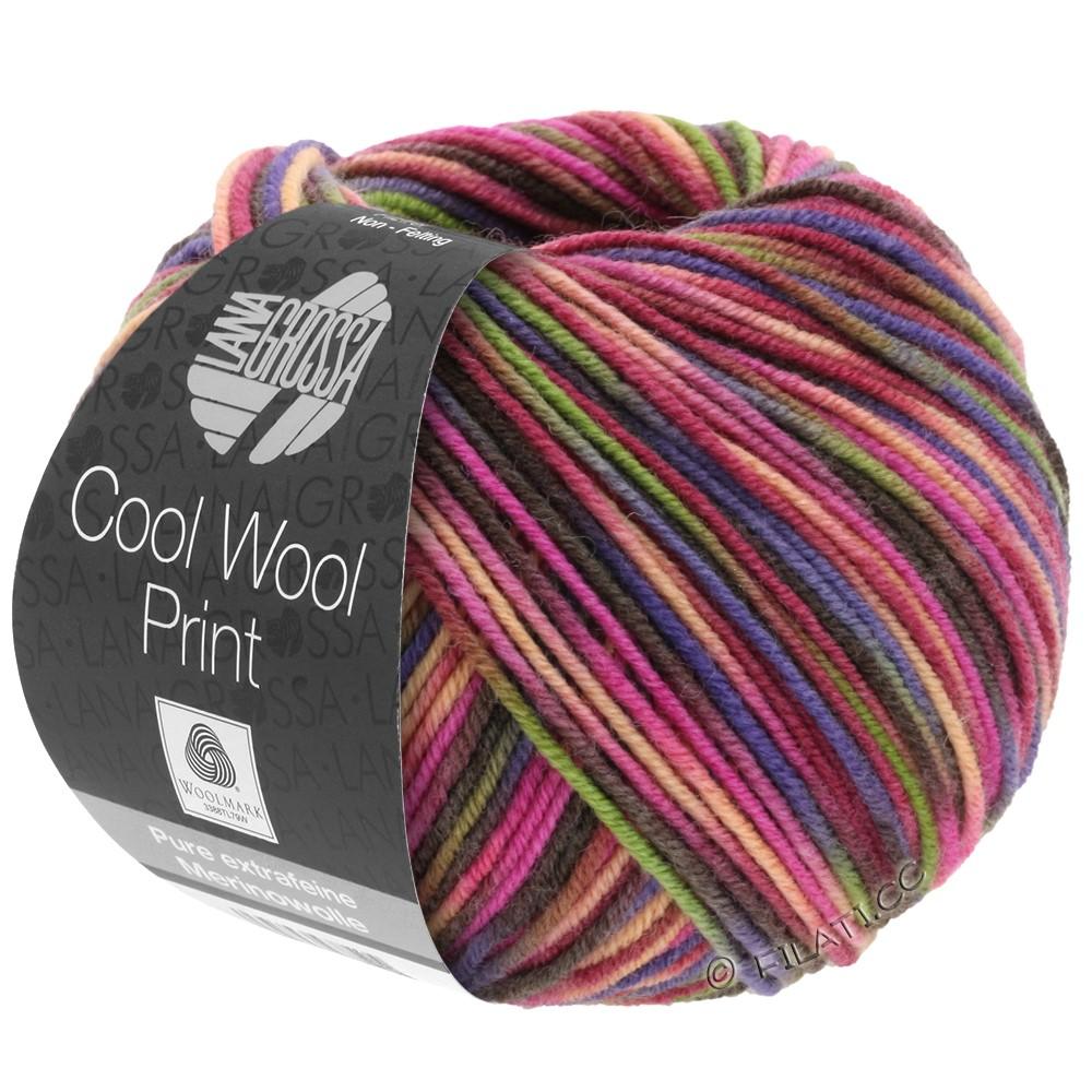 Lana Grossa COOL WOOL  Print | 749-rouge vin/rose vif/olive/violet bleu/saumon/moka