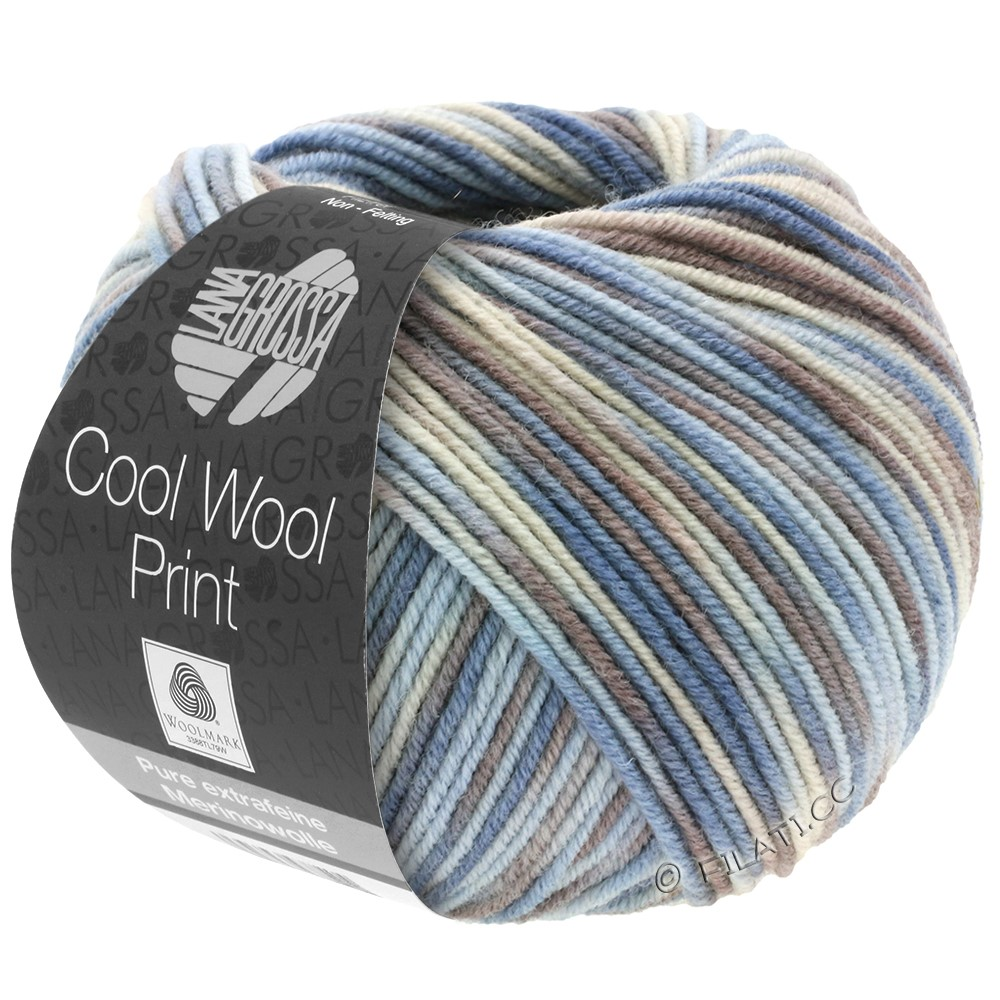 Lana Grossa COOL WOOL  Print | 763-bleu clair/grège/brun gris/gris bleu